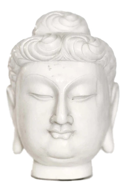 Pure White Hand Carved Marble Buddha Head