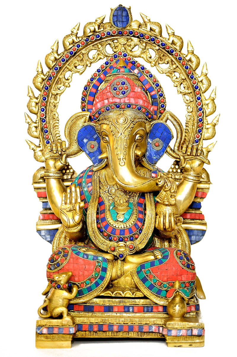 Old Style Multicolor Inlay Ganesh Statue