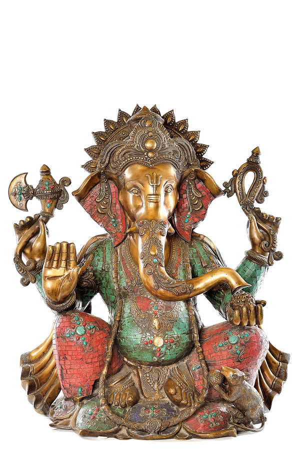 ONE OF A KIND Large Brass Ganesh with Inlay Stone Work