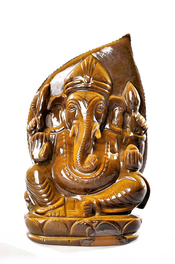 Spectacular Hand Carved AA Grade Tiger Eye Ganesha Statue