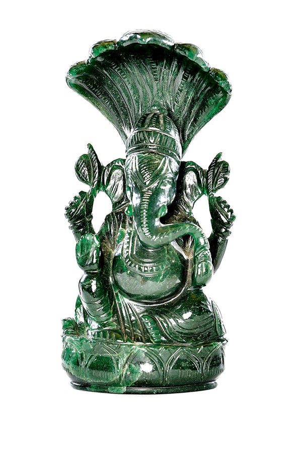 Hand-Carved Green Jade Ganesha