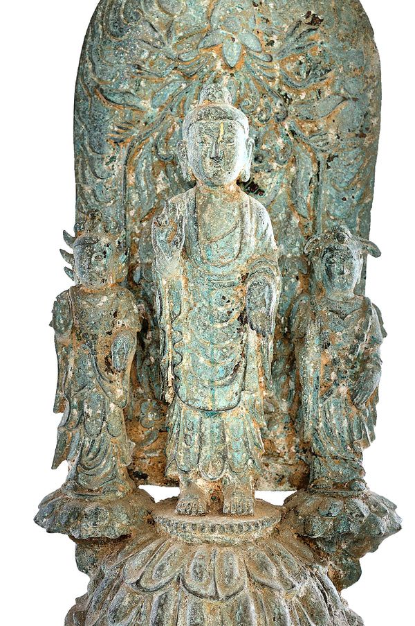 Vintage Copper Buddhas with Tree