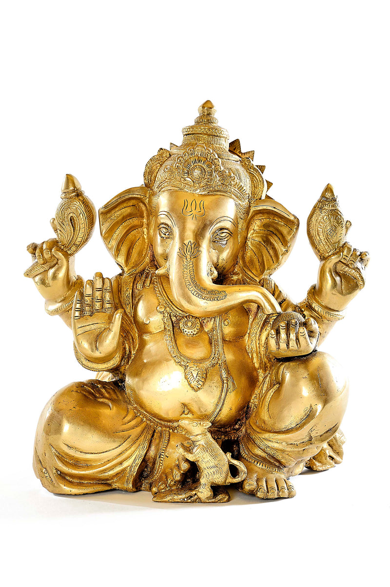 Golden Brass Ganesh Statue