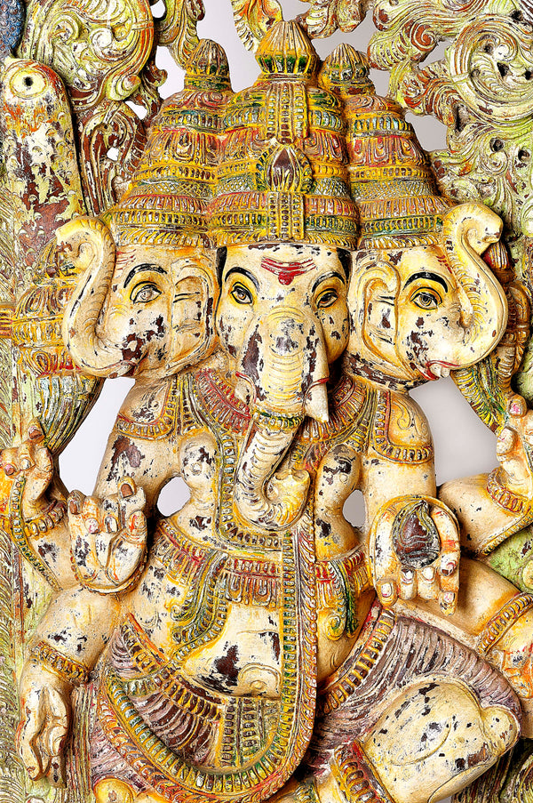 Spectacular ONE OF A KIND Tri Mukhti Ganesha Statue