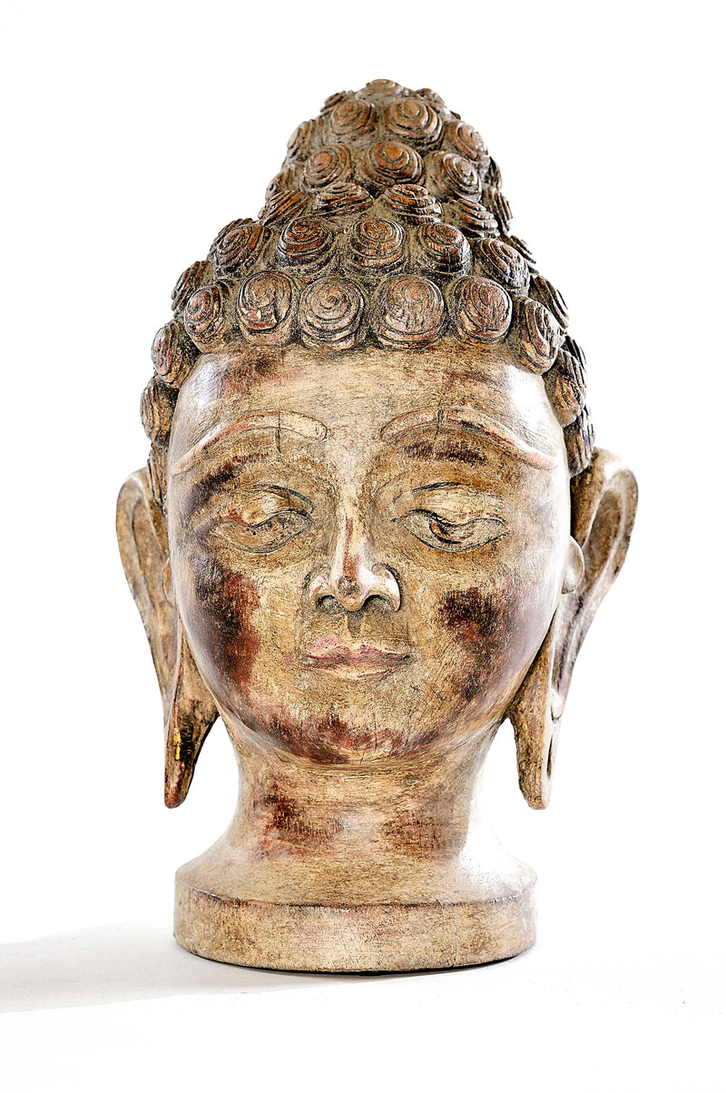 Vintage Wooden Carved Buddha Head
