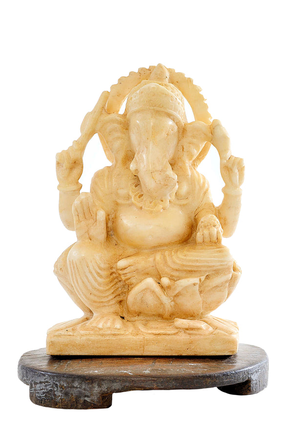 Handcarved MARBLE GANESH STATUE
