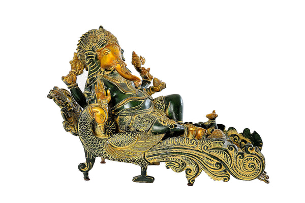 BRASS GANESHA ON PEACOCK THRONE