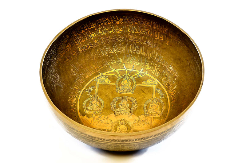 Exquisite Etched Medicine Buddha Singing Bowl
