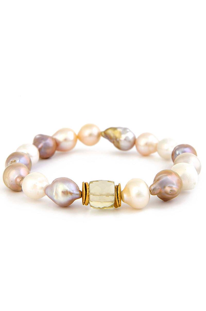 Sweet Natural Color Baroque Pearl & Citrine Stretch Bracelet