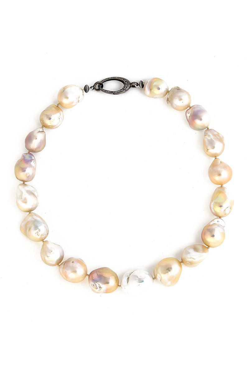 Jumbo Freshwater Baroque Pearl Necklace with Sterling Silver Diamond Clasp