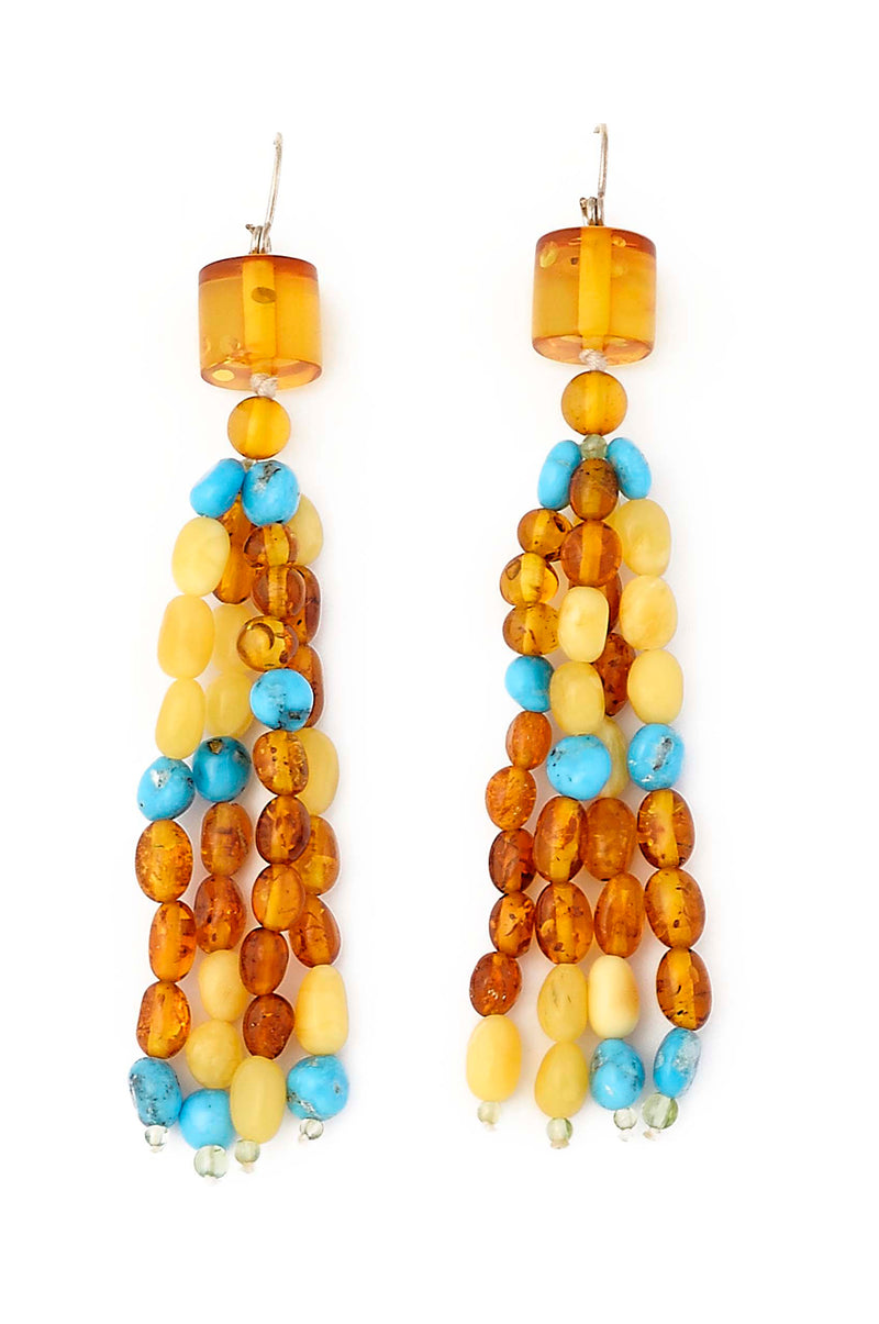 4 Strand Turquoise and Amber Tassel Dangle Earrings