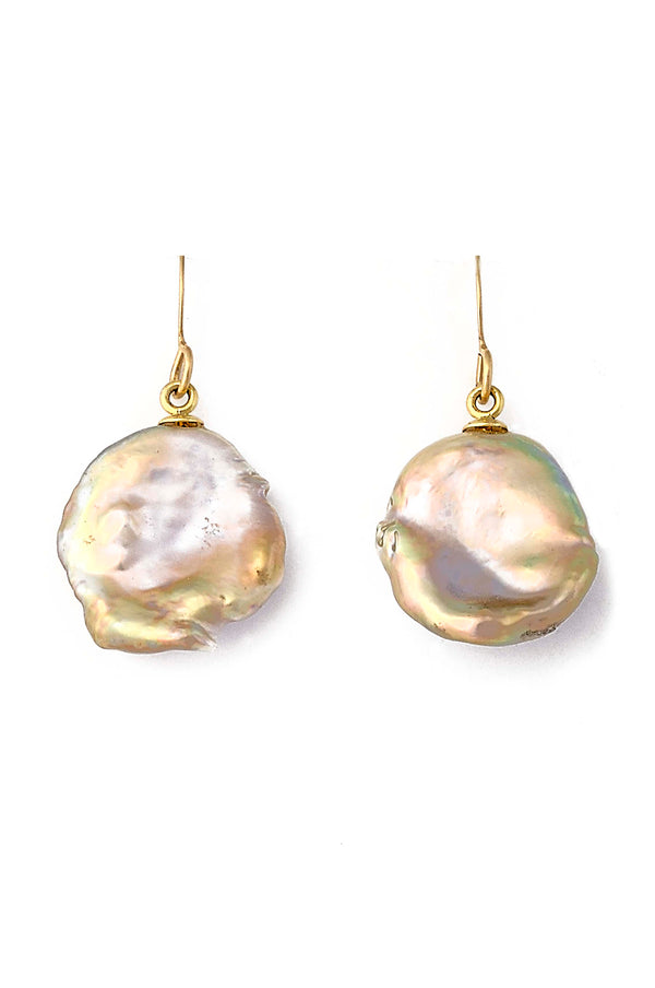 14kt Gold Keishi Pearl Free form Earrings