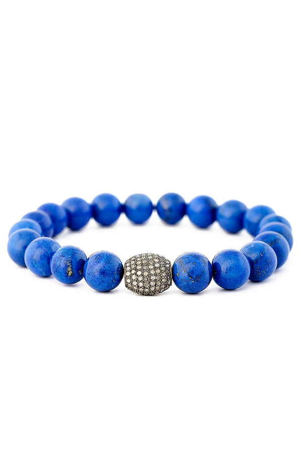 Lapis & Pave Diamond Cushion Bead Bracelet