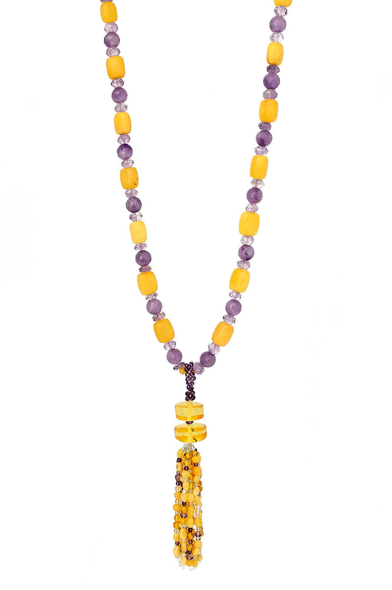 ONE OF A KIND Amber & Amethyst Tassel Necklace