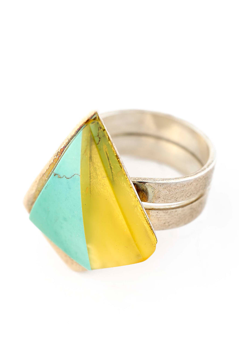 Golden Amber & Blue Turquoise Ring