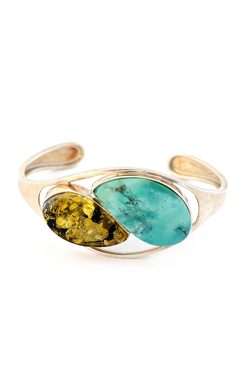 Sterling Silver Amber & Turquoise Cuff Bracelet