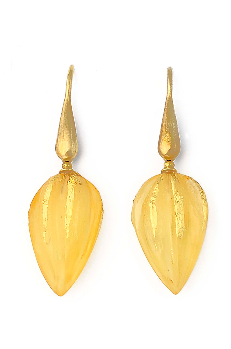 Gold Plated Amber Drop Earrings