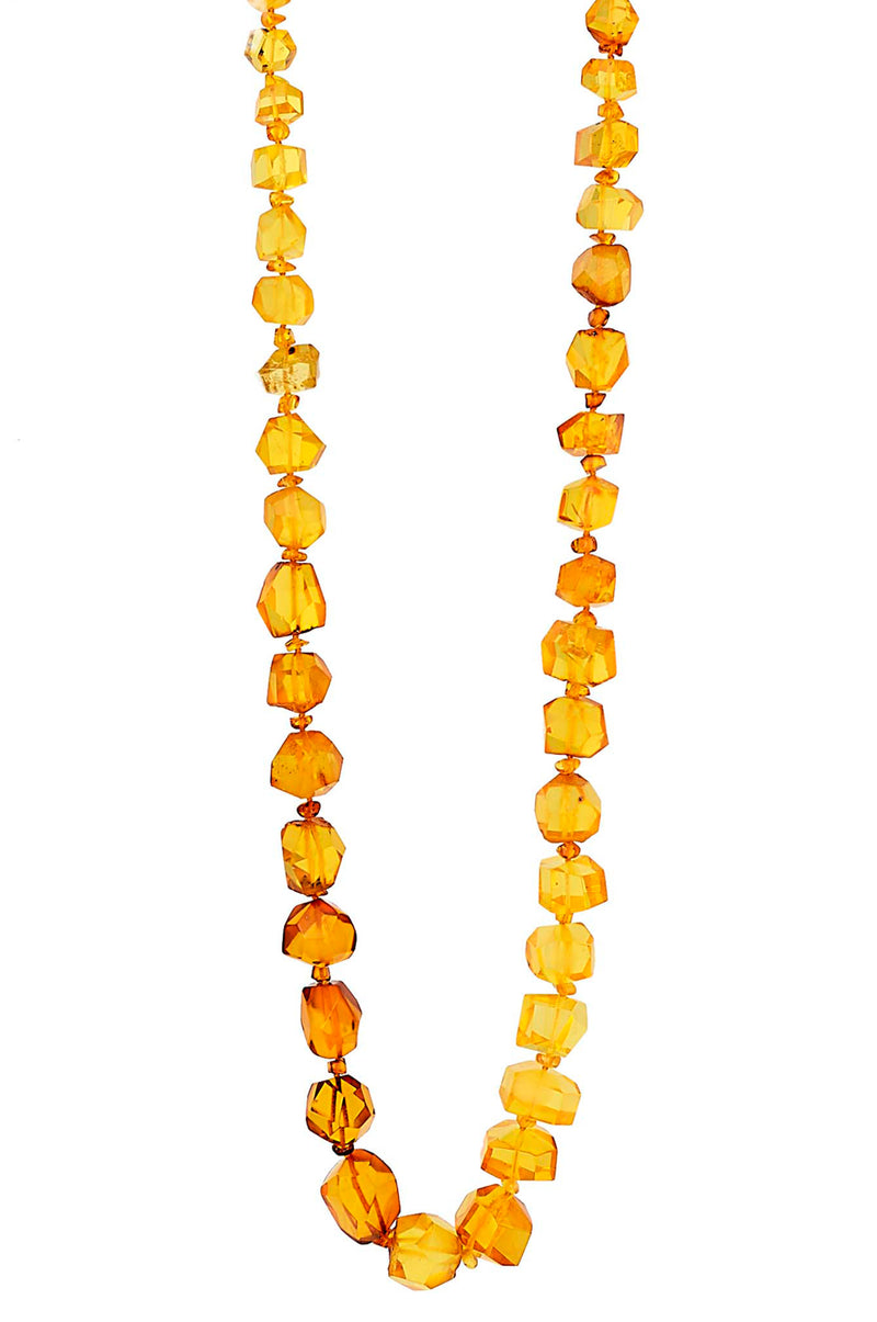 Radiant ONE OF A KIND Faceted Free-form Natural Amber  Necklace