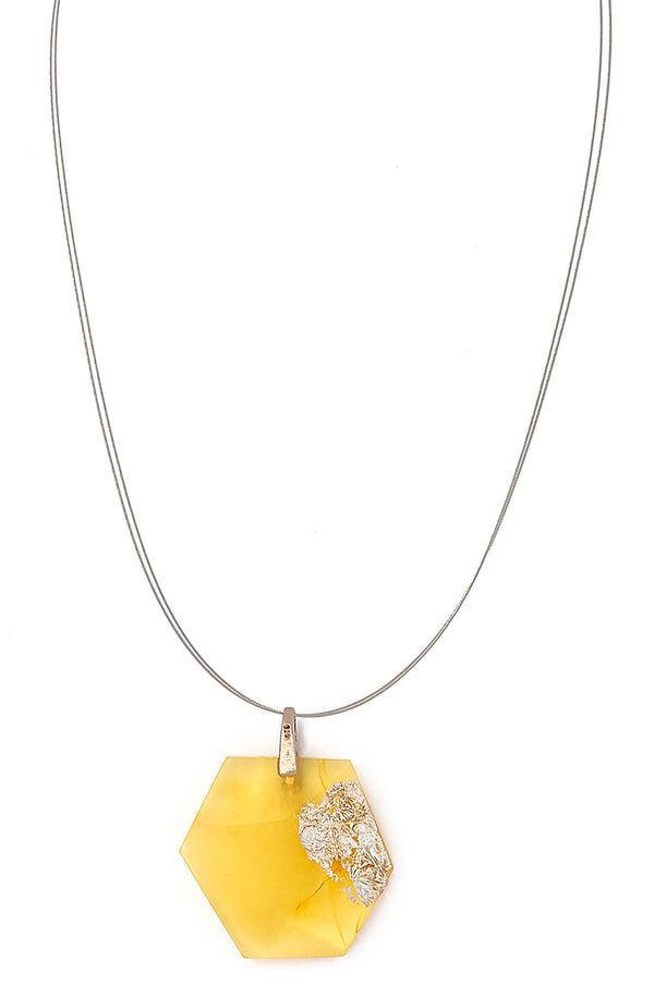 Contemporary Amber Pendant with Silver Leaf Necklace