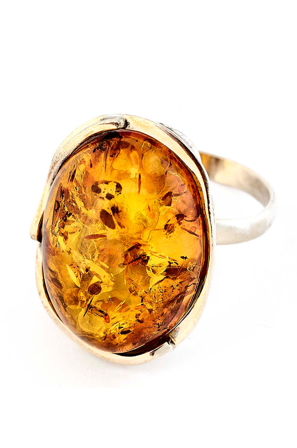 Cognac Inclusion Amber Ring