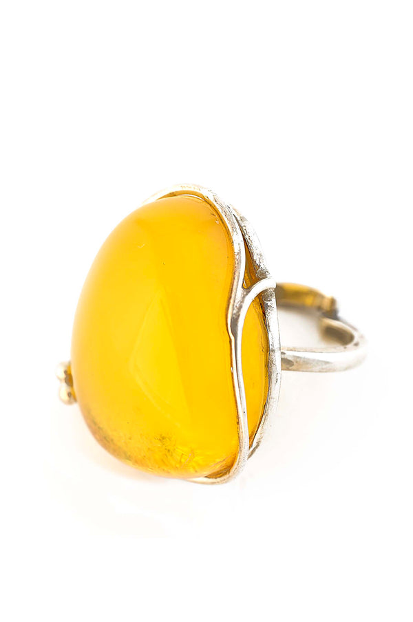 Freeform Oval Butterscotch Adjustable Amber Ring