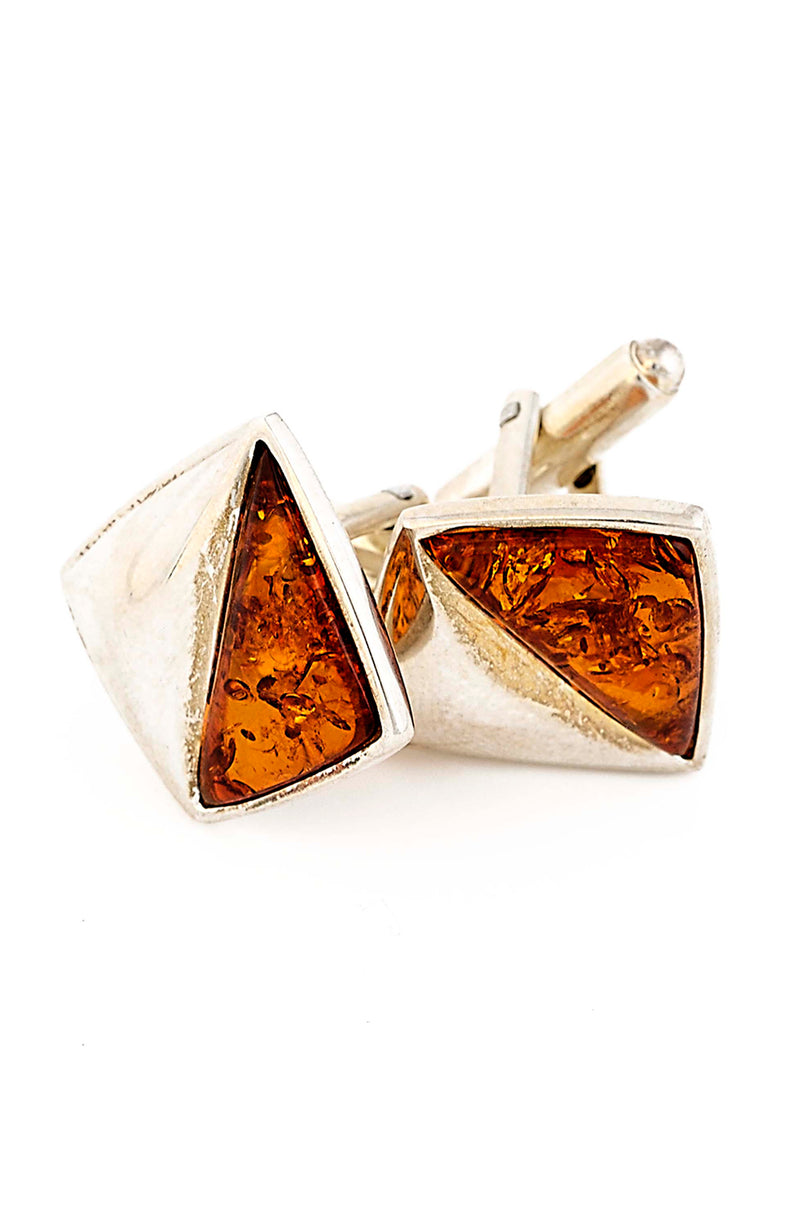 Sterling Silver French Amber Cufflinks