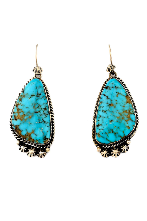 Handmade Navajo Sterling Silver & Kingman Turquoise Earrings