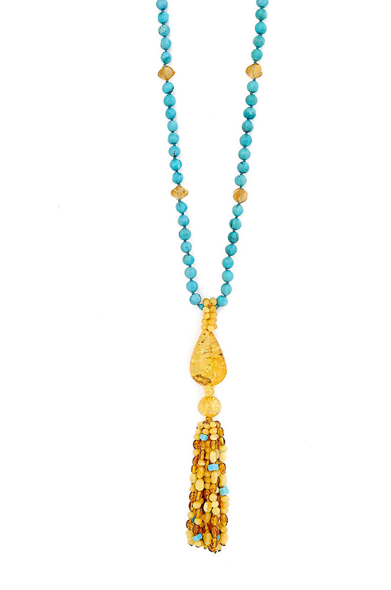 ONE OF A KIND Turquoise & Faceted Citrine Mala with Amber Tassel