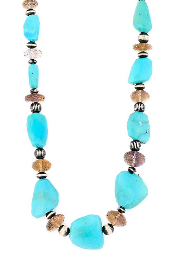 Sleeping Beauty Turquoise Nugget Necklace with Ametrine & Navajo Beads