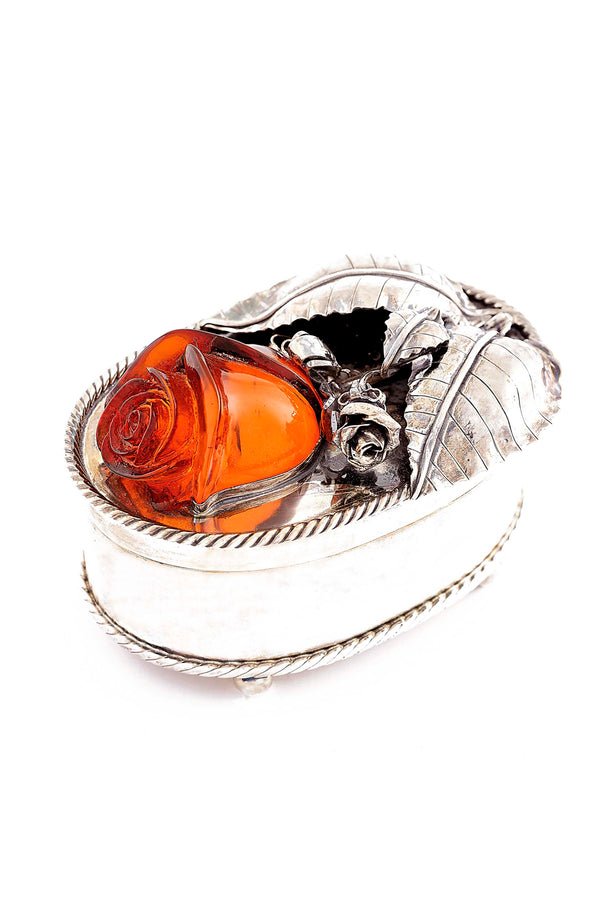 Sterling Silver Hand Carved Amber Rose Box