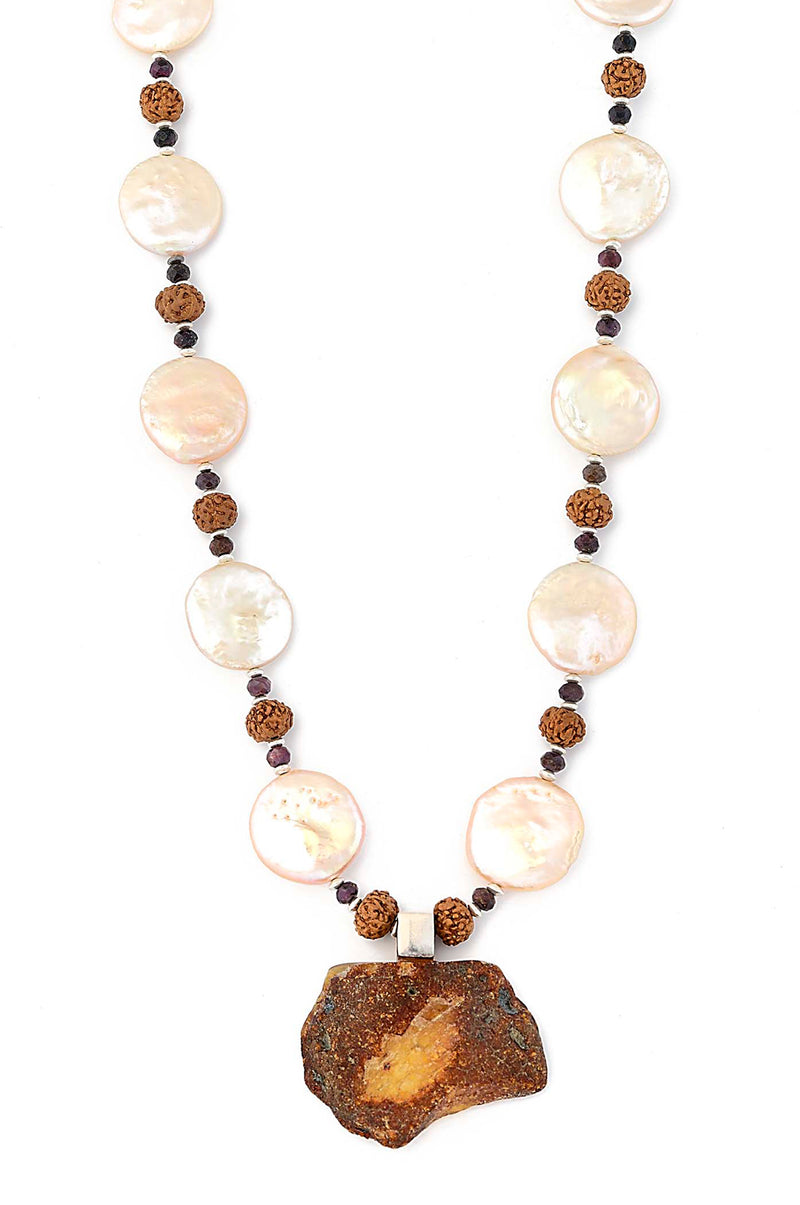 Amber Pendant suspended by Freshwater Pearl, Rudraksha Beads, and Natural Rubies Necklace