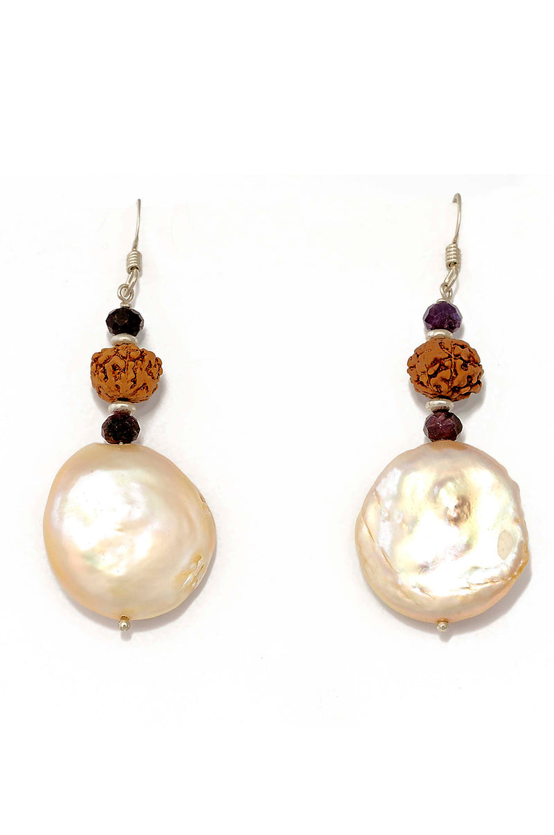 Sterling Silver Freshwater Coin Pearl Earrings