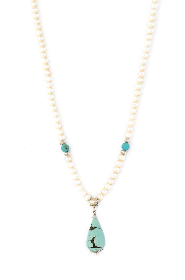 Freshwater Pearl Necklace with Turquoise Drop Pendant