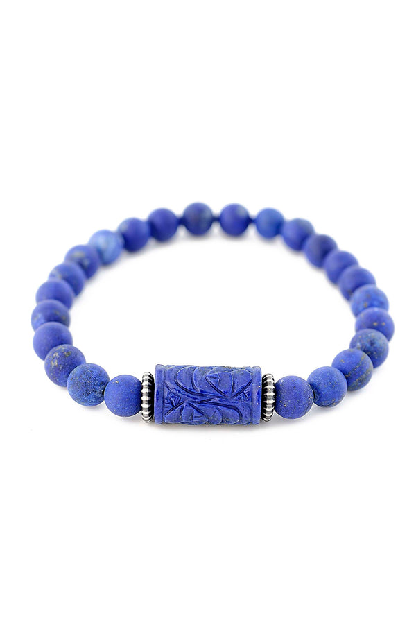 Hand Carved Matte Finished Lapis Barrel Bracelet