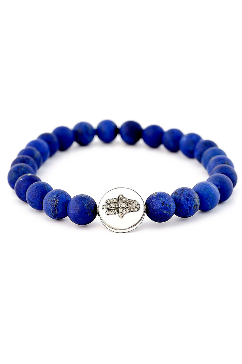Matte Finish Lapis with Diamond Hamsa Bead Bracelet