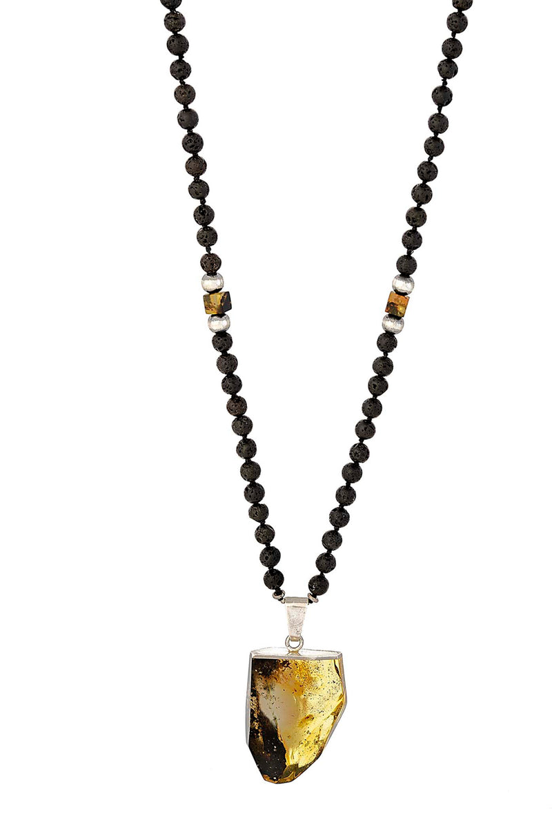 Lava & Amber Mala Necklace