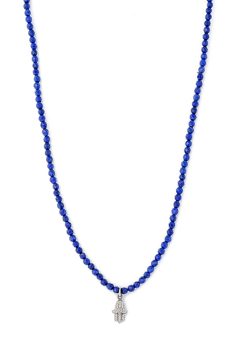 Delicate Faceted Lapis Necklace with Sterling Silver Diamond Hamsa Pendant