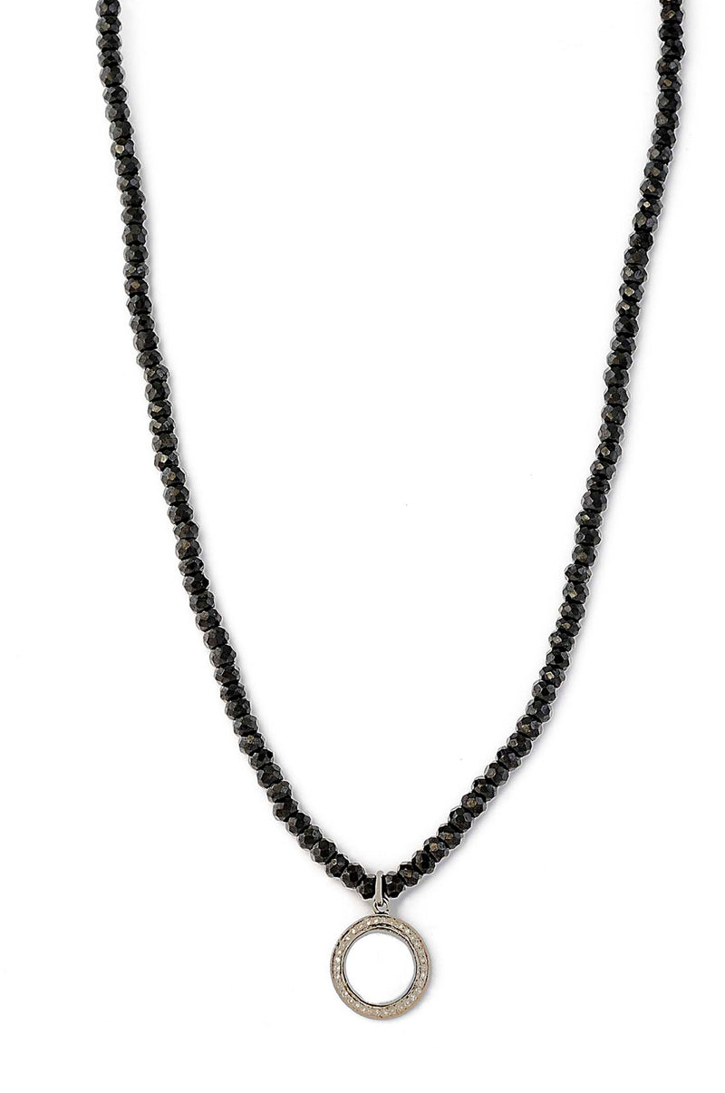 Black Spinel Necklace with Infinity Pendant