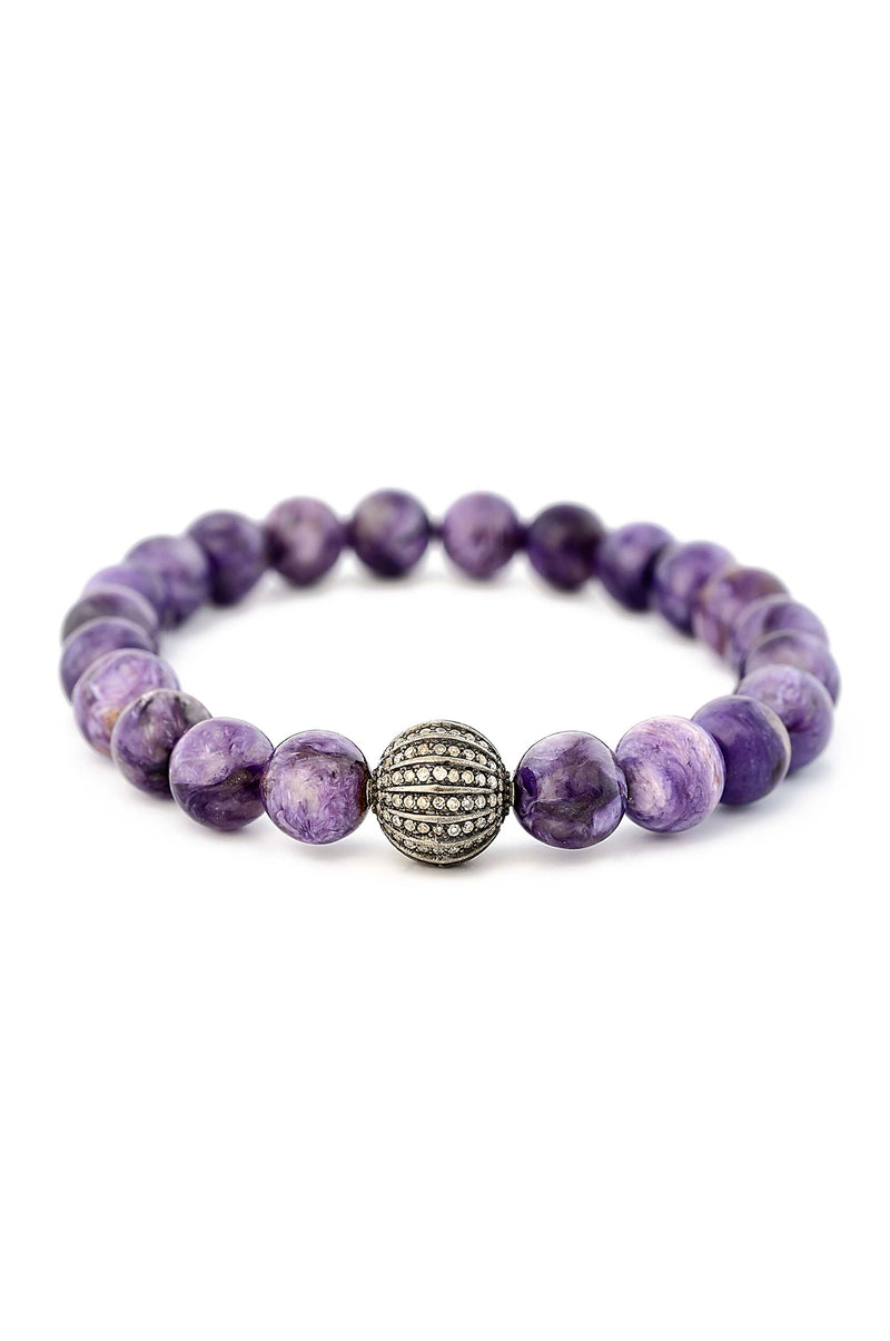 Charoite bracelet with Sterling Silver Diamond Pave Bead
