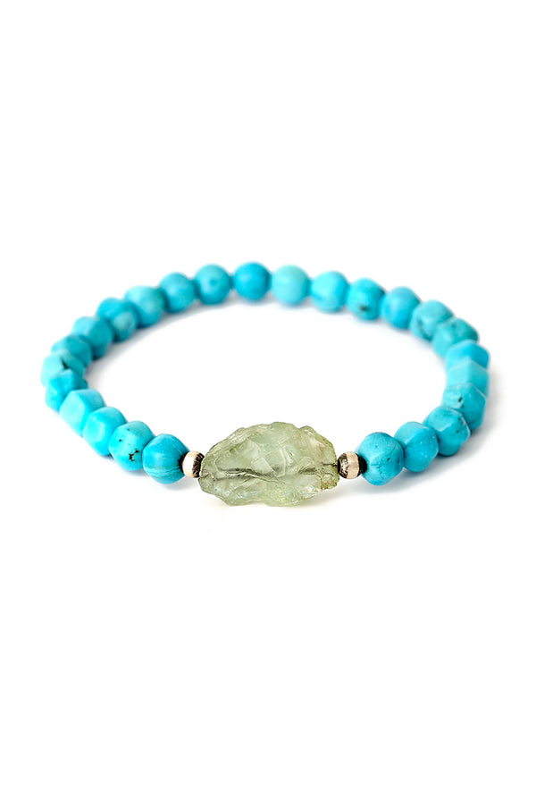 Rough Cut Aquamarine & Turquoise Stretch Bracelet