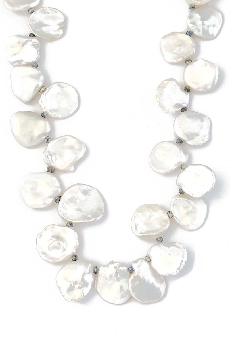 Freshwater Keishi Pearl Necklace with Sterling Silver Diamond Closure