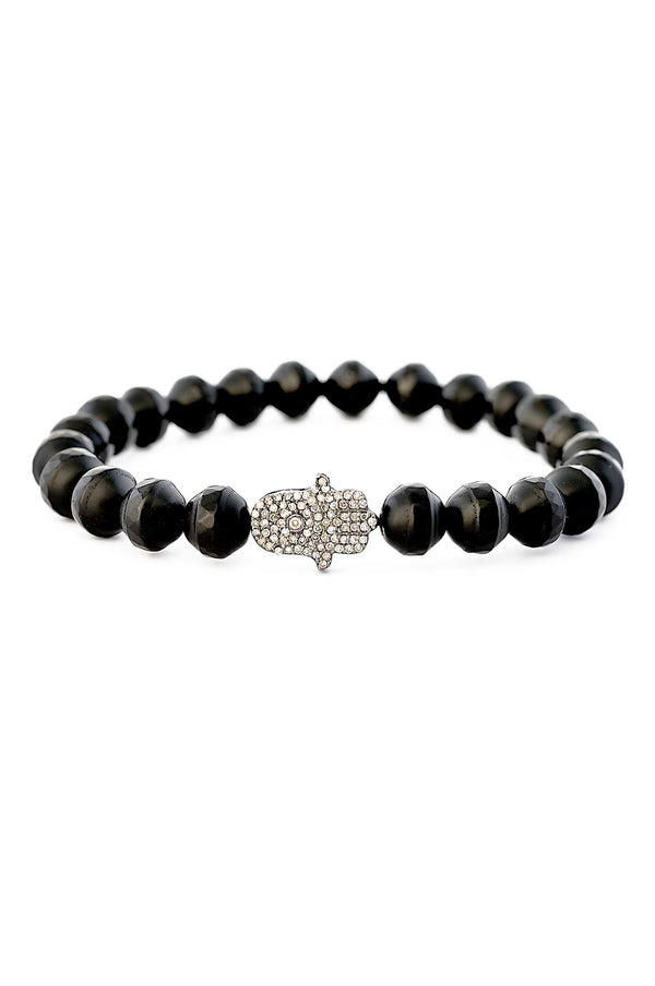 Faceted matte Black Onyx & Diamond Bead Hamsa Bracelet