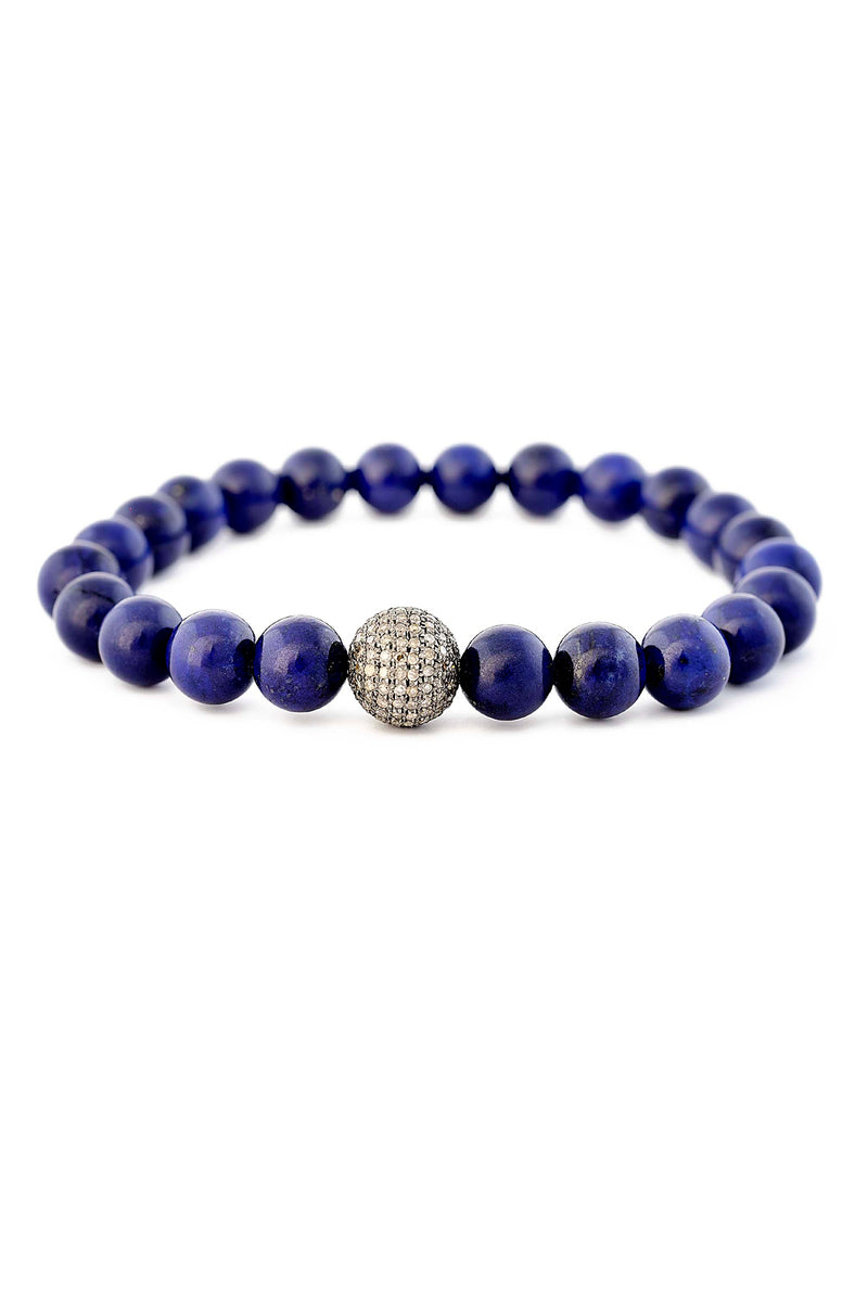 Lapis & Diamond Pave Ball Bracelet