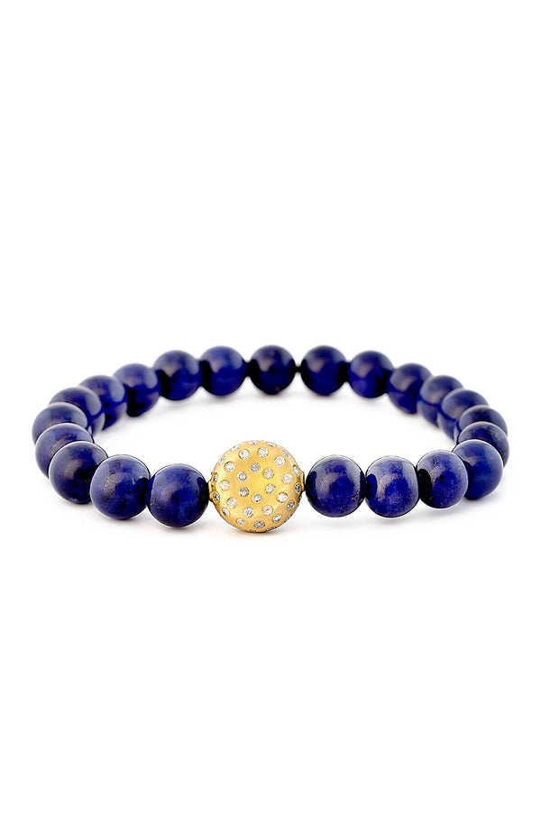 18kt Matte Finished Gold Bead & Lapis Bracelet