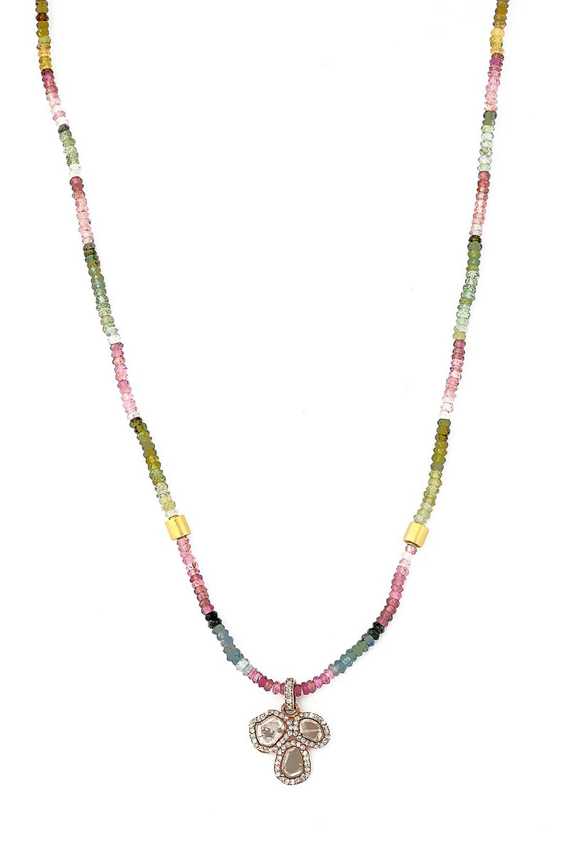 Rainbow Tourmaline & 14kt Rose Gold Diamond Slab Pendant Necklace