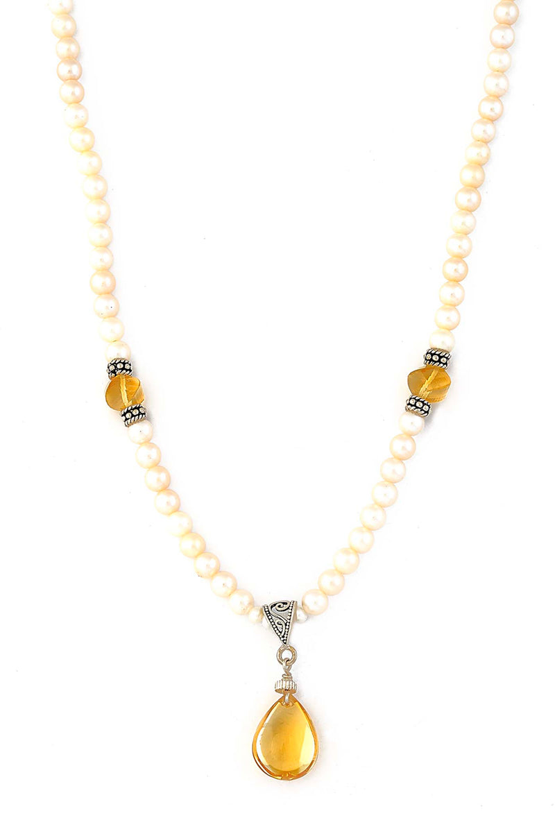 Freshwater Pearl Necklace with Citrine Drop Pendant