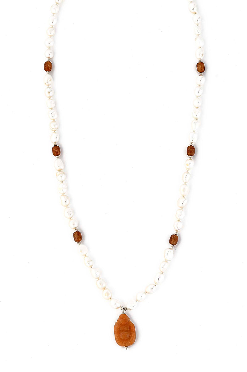 Freshwater Pearl Knotted Necklace with an Orange Carved Laughing Buddha Pendant