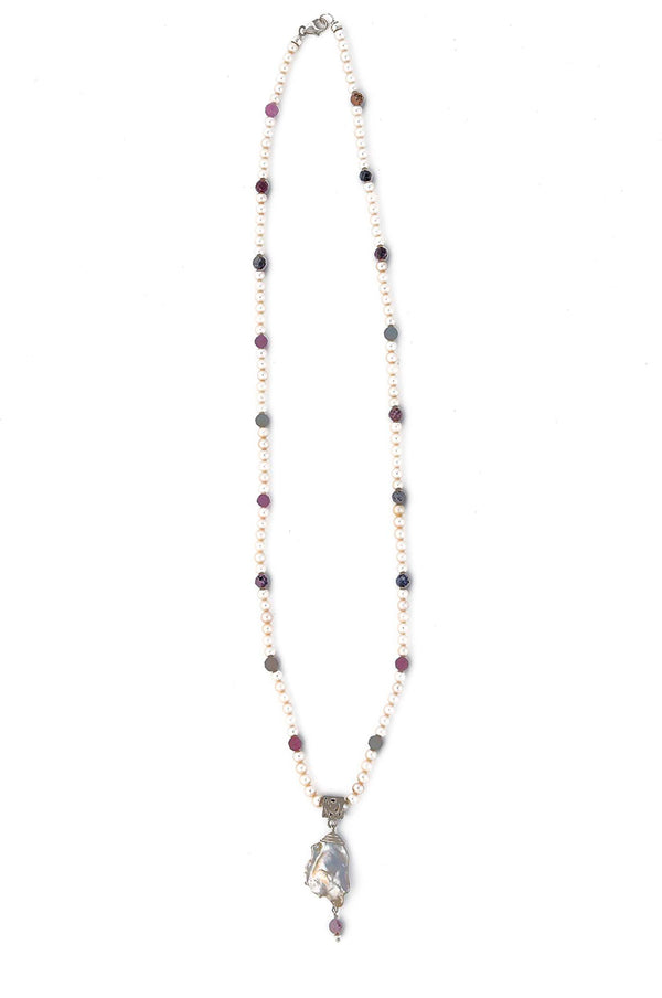 Freshwater Pearl with Faceted Ruby & Sapphire Necklace