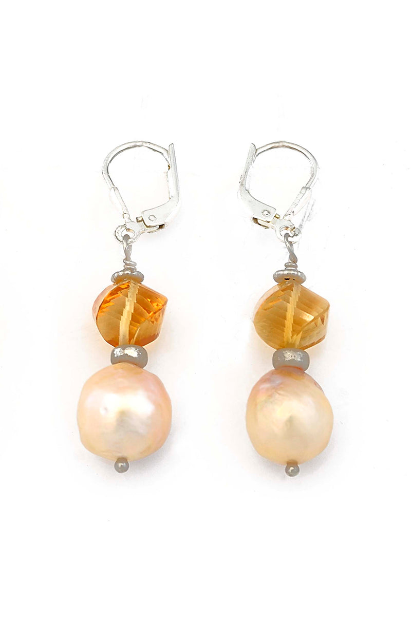 Freshwater Pearl Citrine Twisted Oval Earrings