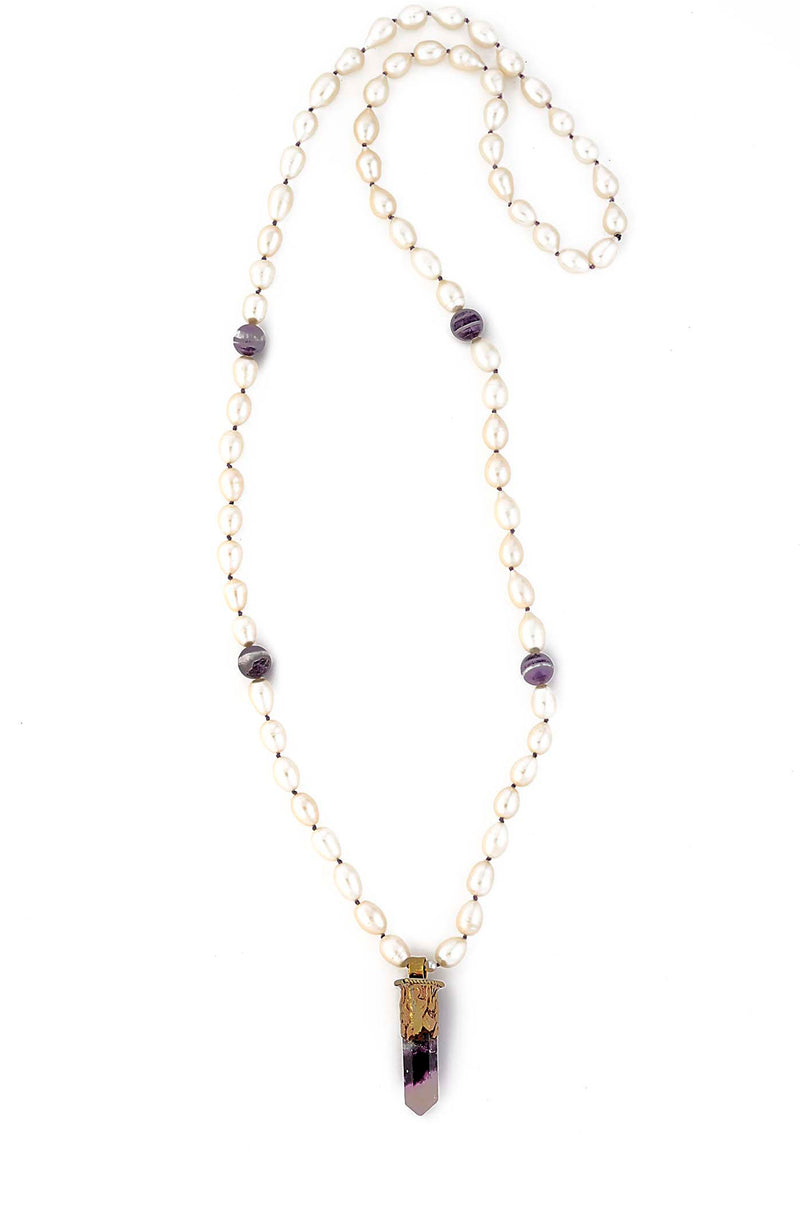 Natural Freshwater Pearl with Dog Tooth Amethyst Crystal Pendant
